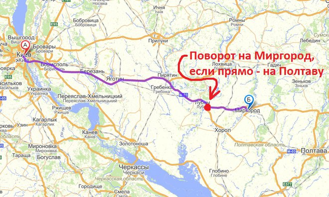 Схема трассы на Миргород